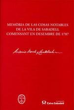 Memòria de las cosas notables de la vila de Sabadell