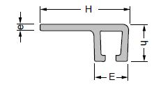 perfil aluminio en forma de F