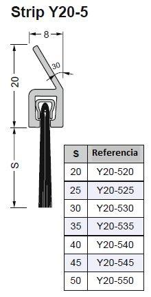 cepillo obturacion 5 con perfil Y 30 grados