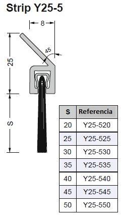 cepillo obturacion 5 perfil Y 45 grados