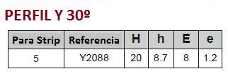 tabla de medidas perfil aluminio en forma de Y30