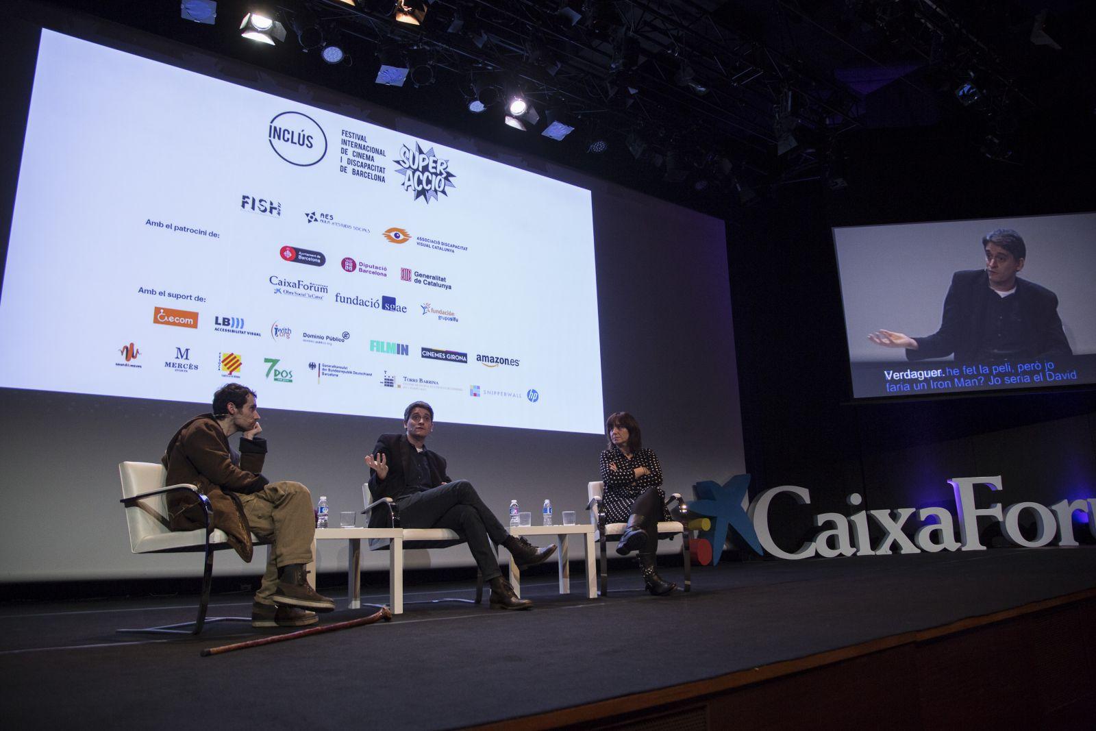 Marcel Barrena Bruno Bergonzini y Judith Colell en el coloquio de la gala inaugural