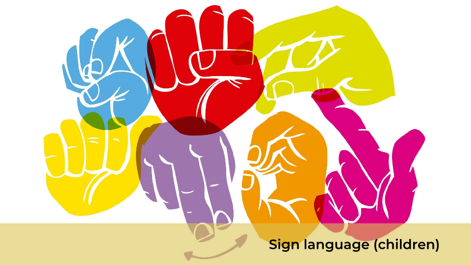 Sign language, children
