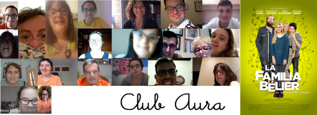 Imagen del vídeo de Fundació Aura y cartel de Familia Bélier