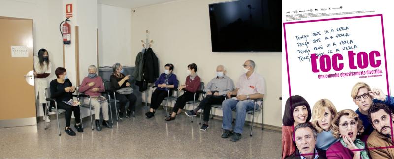 Imagen del vídeo de Casmacs y cartel de Toc toc